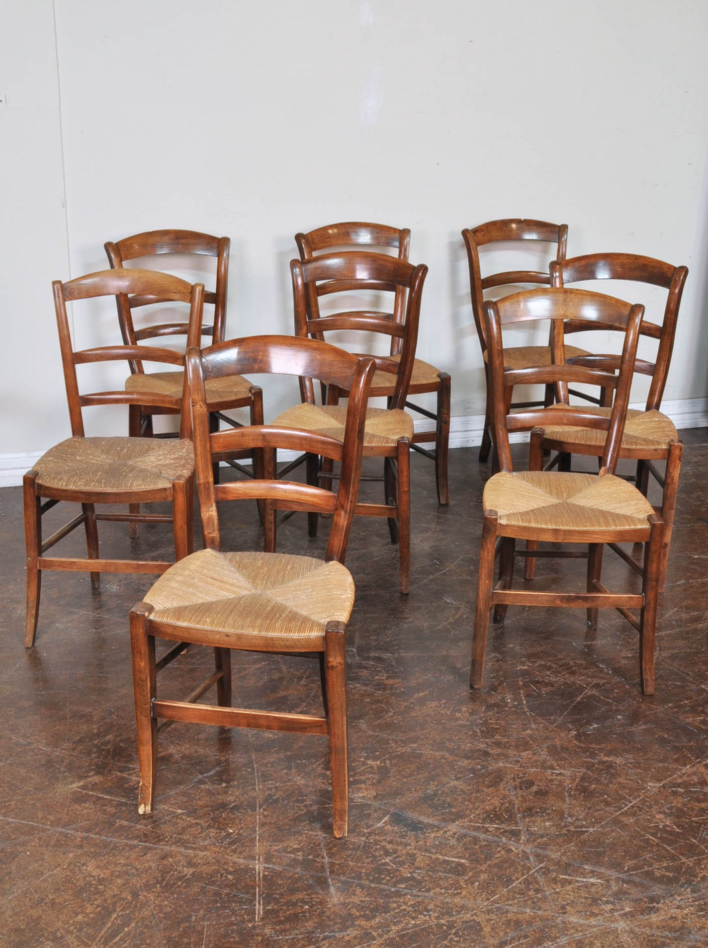 - Set Of Eight Antique Walnut Chairs With Rush Seats - RelicsAZ
