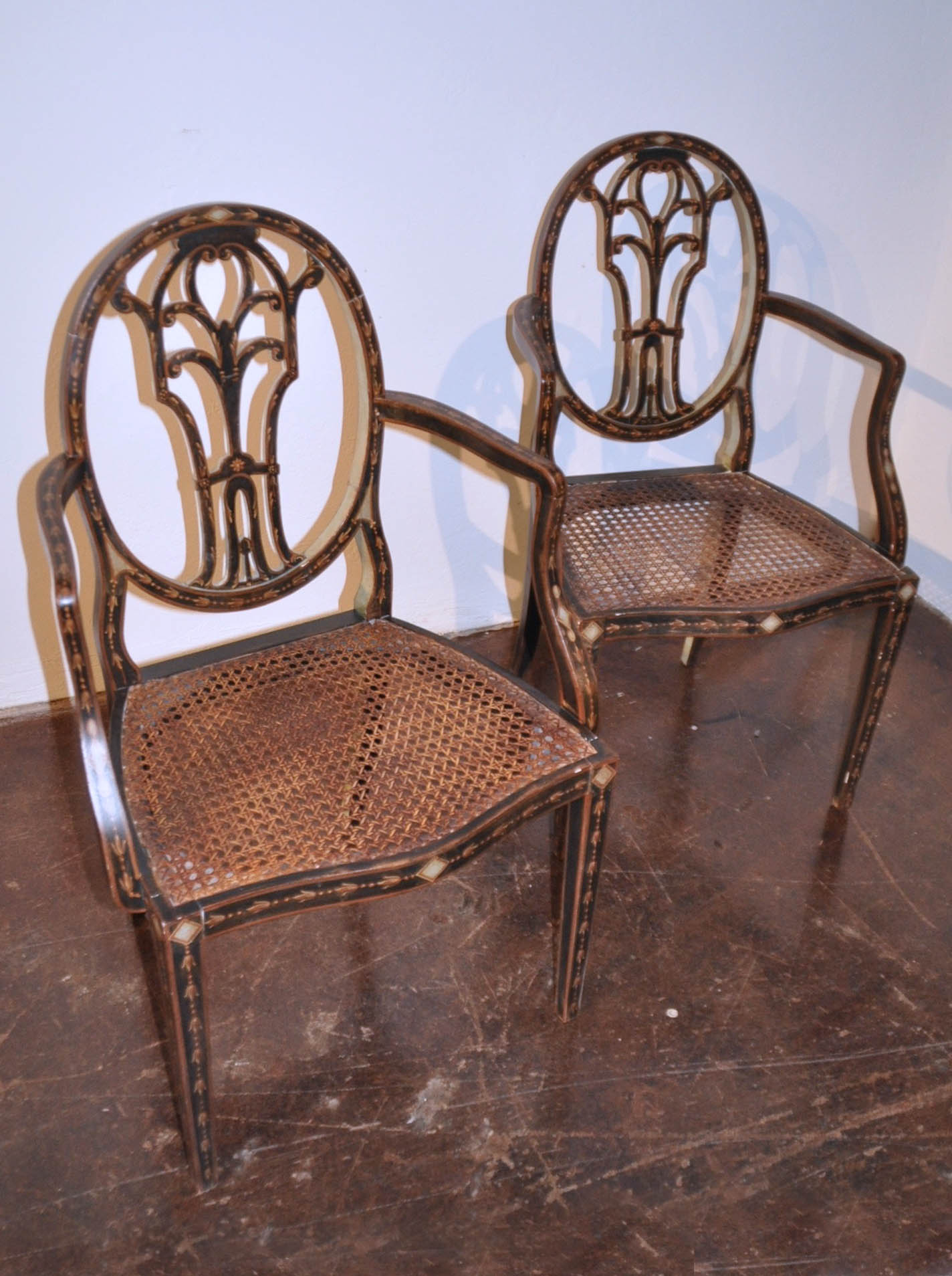 Stupendous Pair Of Italian Painted Wooden Chairs With Rattan Seats Home Interior And Landscaping Oversignezvosmurscom