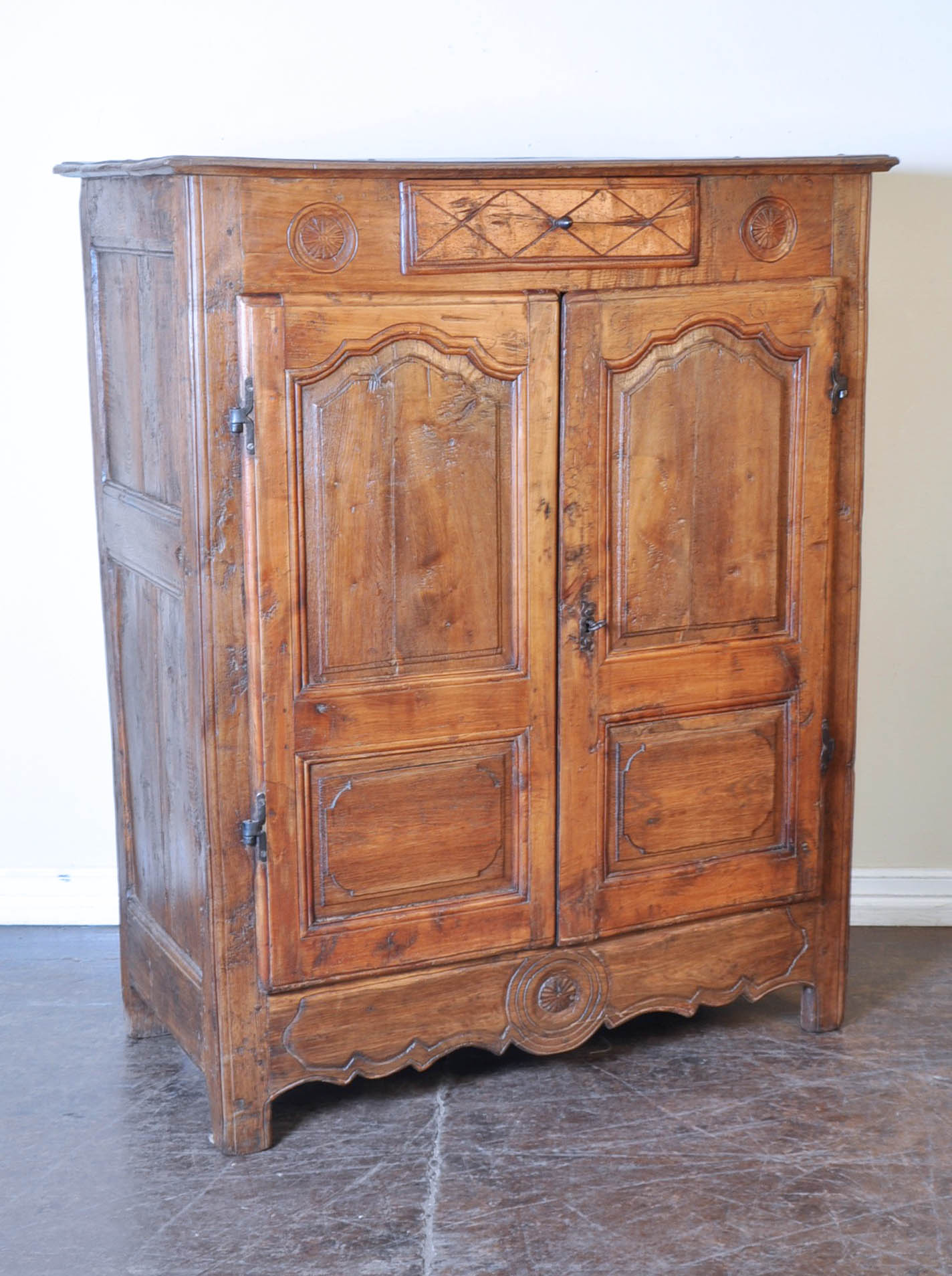 - Spanish Antique Wooden Cabinet With 2 Doors And 1 Drawer - RelicsAZ