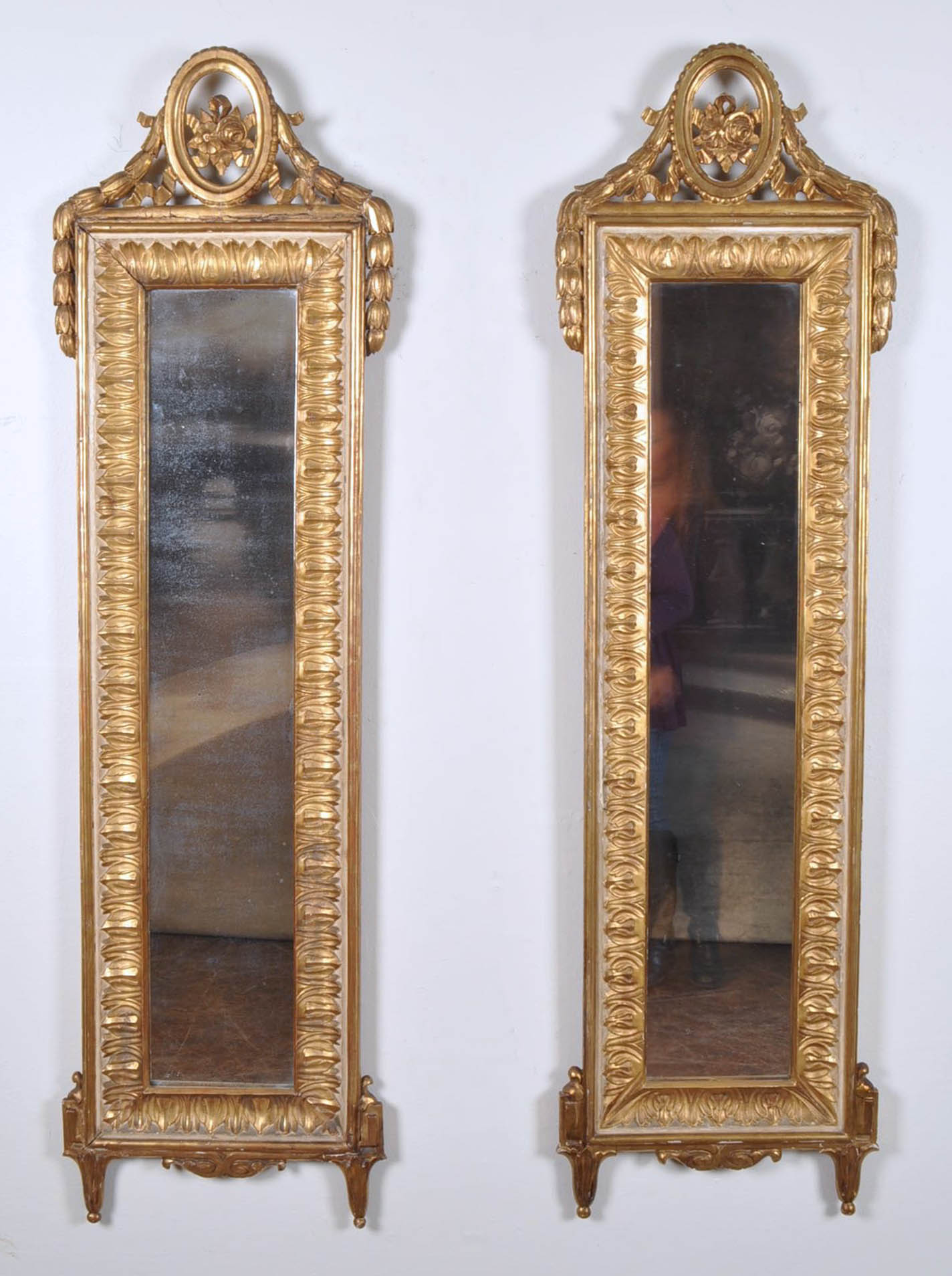 Pair Of Antique French Hand Carved Wooden Mirror Frames With Original Gl Polychrome And Gilt Finish Relicsaz