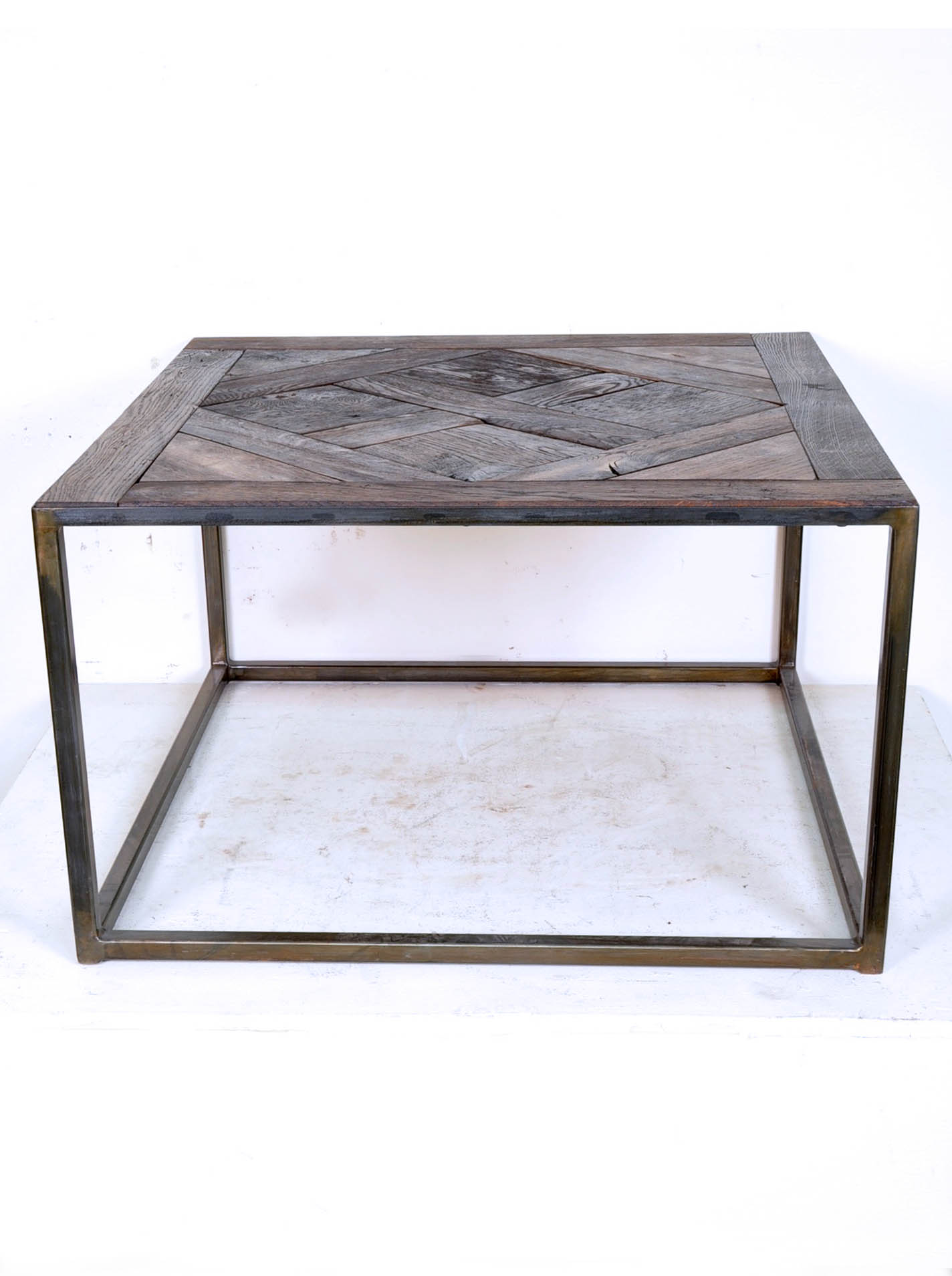 Coffee Table Composed Of Reclaimed Antique French Oak Parquet Top Relicsaz
