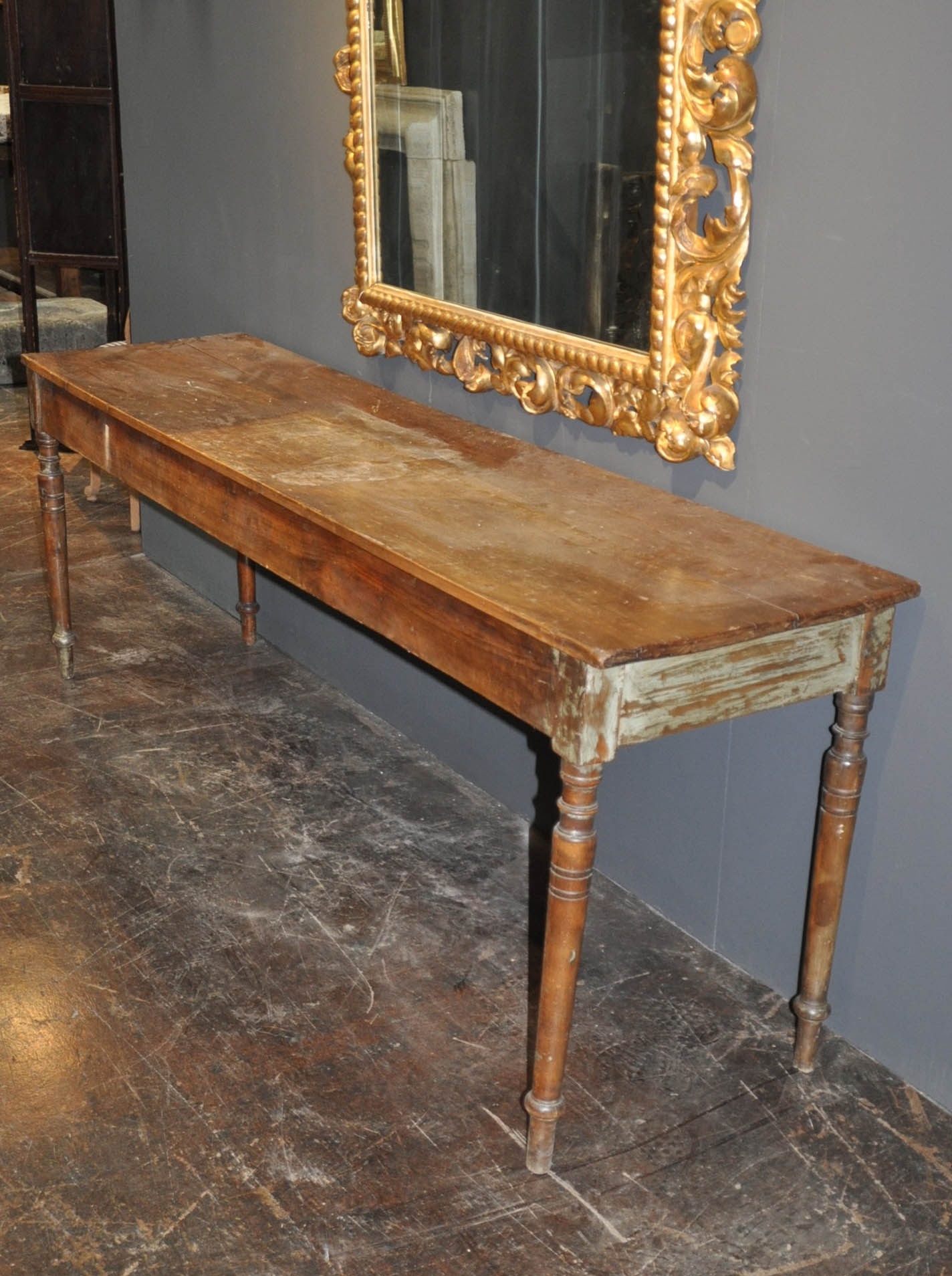French Antique Long And Narrow Wooden Table