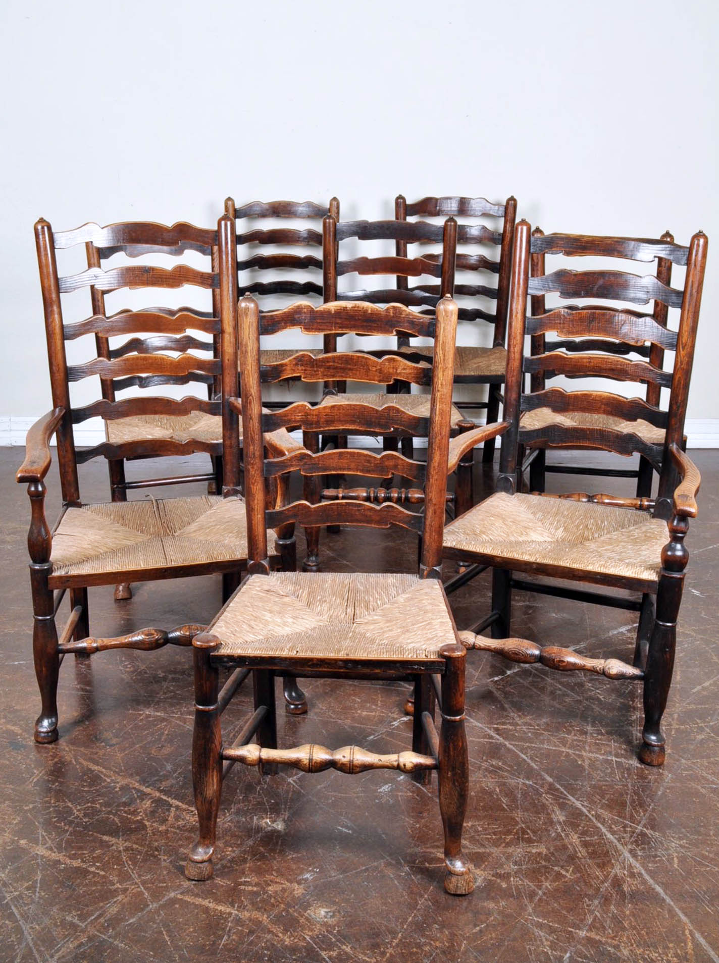 Set Of Eight Antique English Oak Dining Chairs With Rush Seats
